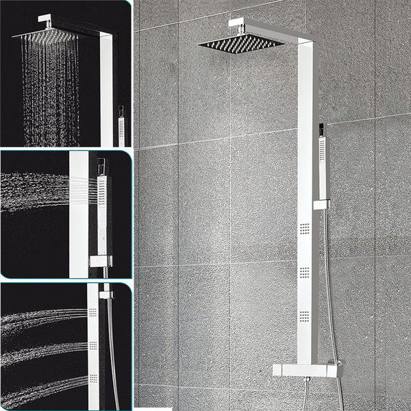 Bathroom Thermostatic Shower Panel Stainless Steel Column Mixer Tap Faucet Mirror SUS304 Rainfall Massage Jets Rain Shower