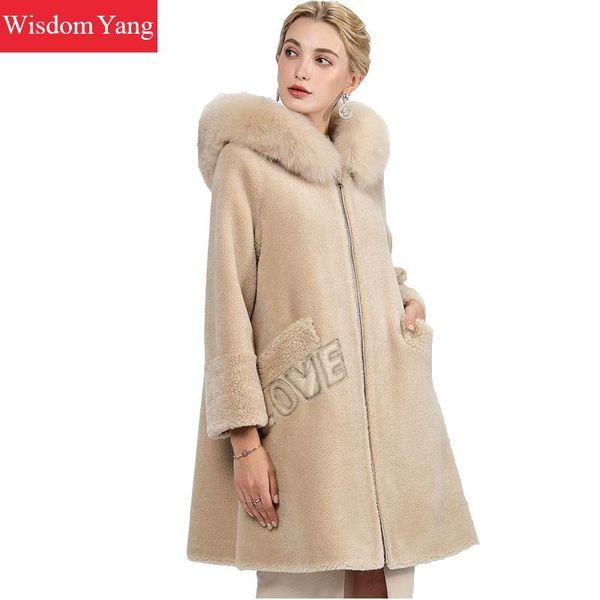 Beige Brown Sheep Wool Cashmere Coats Womens Fur Hooded Winter Female Long Woolen Ladies Elegant Overcoat Coat Outerwear