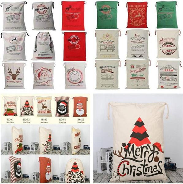 2018 Weihnachtsgeschenk Taschen Dekorationen Kreative Santa Bag Claus Hirsch Kordelzug Leinwand Santa Sacks Taschen Extra Große Größe 27 Stile 100 stücke