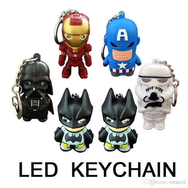 Santa Clause Mixed styles LED keychain Marvel keychain with flashlight Keyrings Key Chains Sport Mini led flashlights keychain key ring