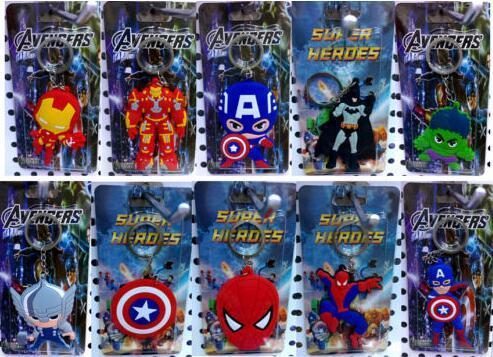 Beaucoup Spiderman capitaine batman homme de fer mélangé Keychain Key Chains jouets