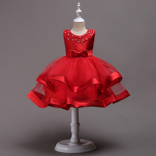 Lovely 2018 Baby Girl Dresses Beaded Jewel Neck Fluffy Skirt Tea-length Red Blue Pink Satin and Organza toddler vestidos de fiesta
