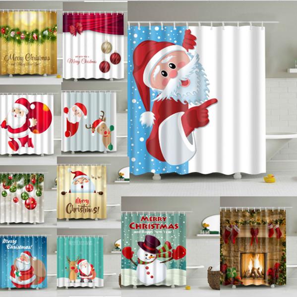 top popular Snowman Waterproof Shower Curtain 180*180cm Polyester Sleepy Snowman Pattern Bathroom Shower Curtains Christmas Bath Curtain 94designs 5PCS 2019