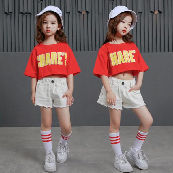 La camicia del costume della concorrenza di ballo hip-hop di jazz della sala da ballo delle ragazze di estate delle ragazze supera i bicchierini caldi per l'abbigliamento danzante di abbigliamento del capretto