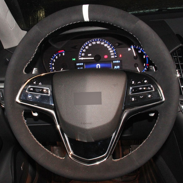 Black Suede White Marker DIY Hand-stitched Car Steering Wheel Cover for Cadillac ATS 2013-2015 CTS 2014-2016