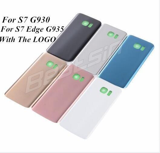 Galaxy S7 G930 S7 KENAR G935 Pil Cam Arka Kapak Arka Kapı Konut Kapak 3 M Tutkal Onarım Yedek Parça Logo Ile