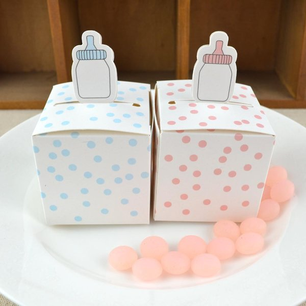 100pcs Baby Bottle Shape Paper Box Blue and Pink Dots Candy Boxes Birthday Party Favor Package Gift Box Chocolate Candy Paper Bag