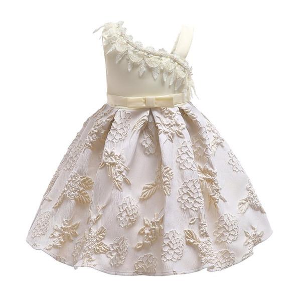 Compre 2018 Niños Vestidos De Princesa De Encaje De Color Beige Ropa De Fiesta Para Niños Niñas Vestido Elegante Vestido De Boda De La Flor Del Niño