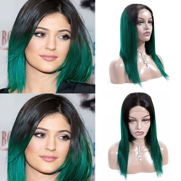 Short 4*4 Lace Front Human Hair Wigs Brazilian Remy Hair Bob Wig with Pre Plucked Hairline Bleached Knots Green/Blue/Purple/Pink/30#