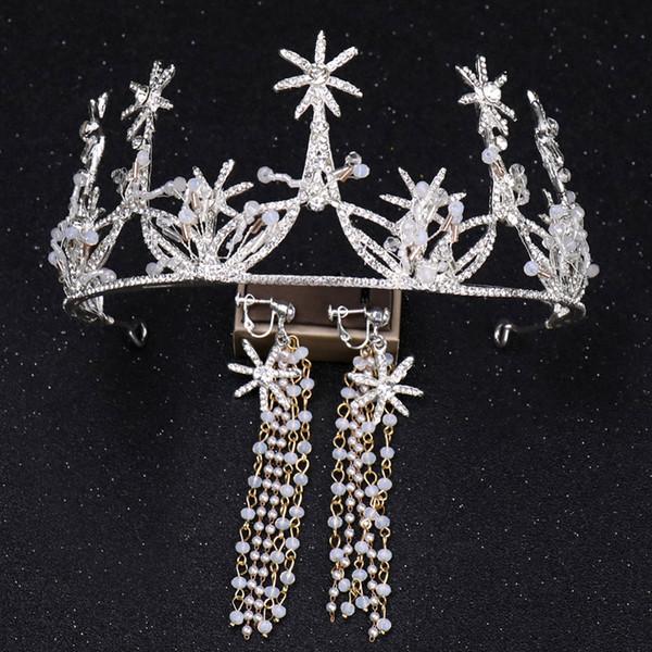 Nuovo arrivo Diademi e corone Fasce d'argento Accessori per capelli Orecchini corona nuziale Set di gioielli per le donne