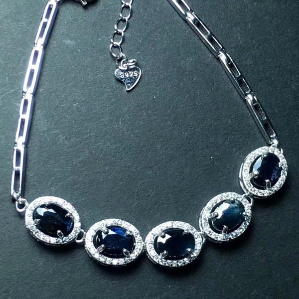 Natural black sapphire bracelet 925 sterling silver bracelet Burnt sapphire Beautiful jewelry. Posting