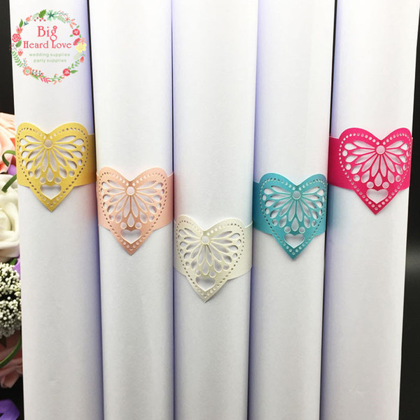 Big Heard Love 40pcs Wedding Napkin Holders Lace Heart Napkin Rings for Wedding Decoration Supplies Paper Ring Table Decoration