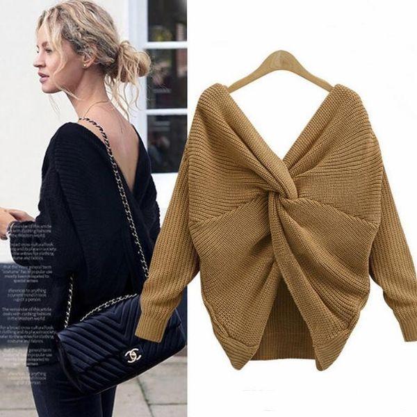 Top Verkauf V-Ausschnitt Twisted Back Pullover Frauen Khaki Jumper Pullover Casual Tops Langarm Schwarz Strickpullover Pull femme FS5699