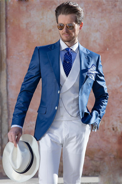 Classic Style Mens Blazer One Button Royal Blue Polyseter Material 1Pc Per Opp Bag One Jacket For Fall, Good Quality Wedding Blazers