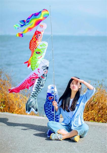 2 Stücke Koi Nobori Karpfen Windsocken Luftschlangen Bunte Fisch Flagge