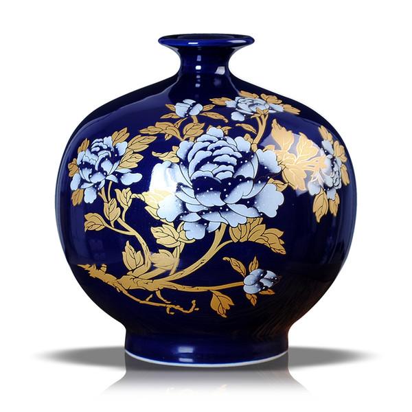 céramique Pastel Blue Gold Vase pivoine grenade Bol de décoration de la maison moderne salon décoration artisanat