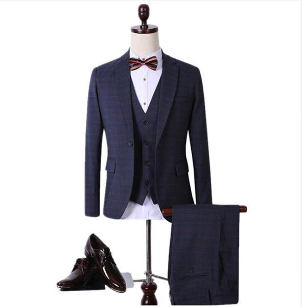 2018 kostüm frühling männer wolle Single Button casual anzug männer blazer hochzeitskleid mode Anzüge (Jacken + weste + Hosen)