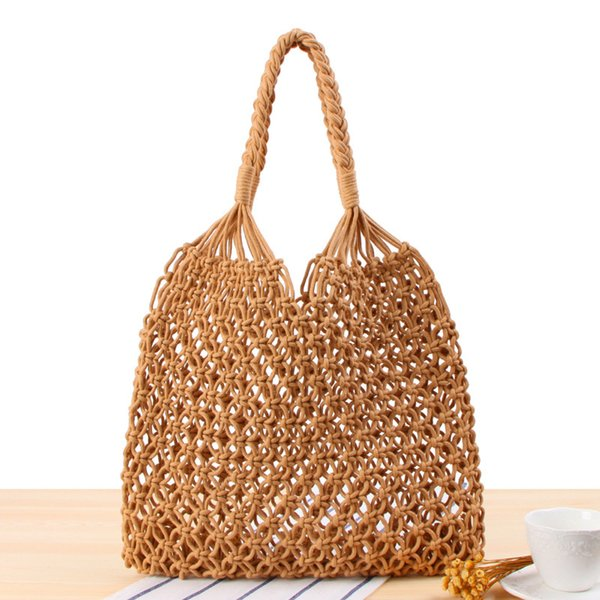 2018 Ins Fashion Popular Summer Beach Bag Mesh Rope Weaving Tie Buckle Reticulate Hollow Straw Bag No Lined Net Shoulder Bag D18101303