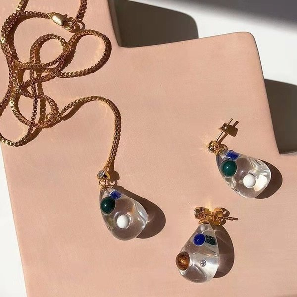 Europe and America New Fashion Jewlery Yellow Gold PLated CZ Crystal Earrings Necklace for Girls Women Nice Gift