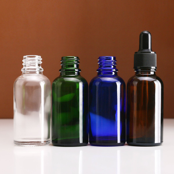 Factory Price 30ml Blue/Green/Clear/Amber Glass Bottle Essential Oil Dropper Empty Bottles With Black Childproof Tamper Caps
