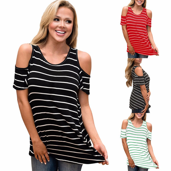 95fa9934a947c Off Shoulder Women Sexy Tops O-Neck Short Sleeve Striped T-Shirt Long Shirt