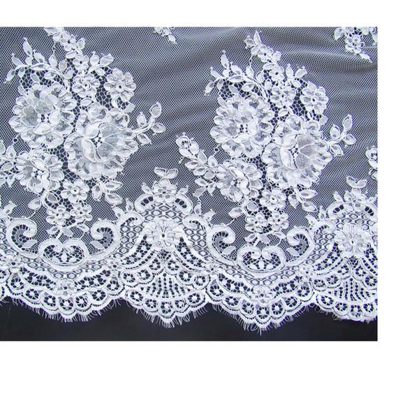 Yüksek kalite 3 metre beyaz Fransız dantel gelinlik gazlı bez giyim kumaş malzemeleri DZ04