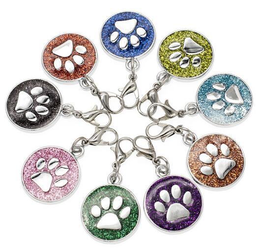20 teile / los Farben 18mm Fußabdrücke Katze Hund Pfotenabdruck hängen Anhänger Charme mit Karabinerverschluss fit für DIY Schlüsselanhänger Mode Jewelrys