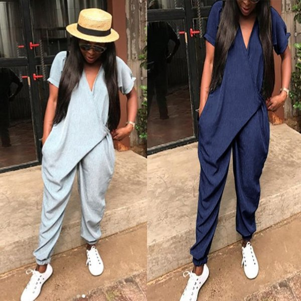 Fashion loose V-neck jumpsuit hip hop street style loose jumpsuit Korean version of wide-leg pants short sleeve female large siz