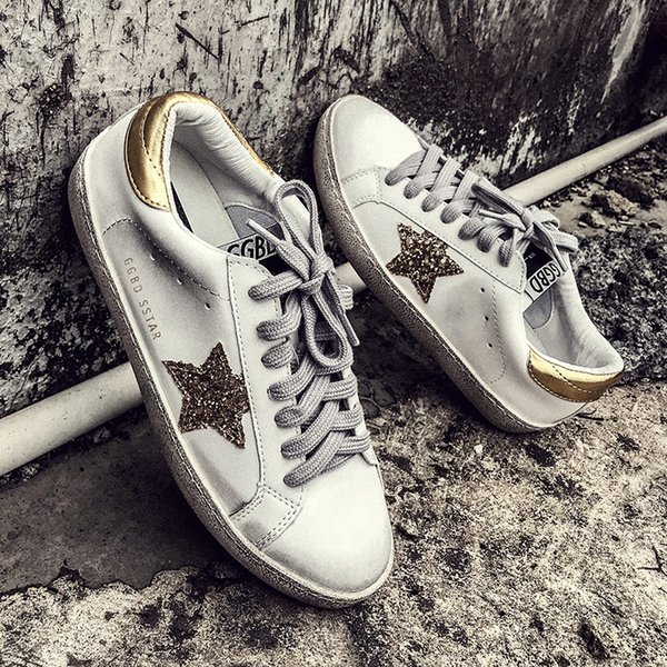 2019 GRAM EPOS New Women Casual Shoes Glitter Leather Do Old Dirty Shoes  Mixed Color Women 2c2a7730d256