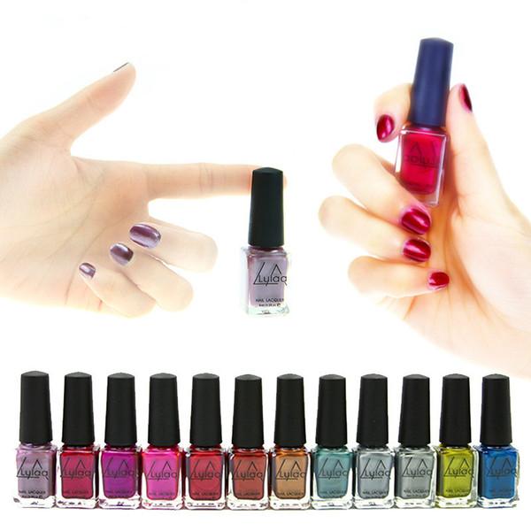LULAA 12 Colors Metallic Nail Polish Pure Color 6ml Mirror Effect Shiny Metal Polish Varnish nail art polish
