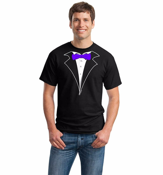 Summer Sleeves Cotton Fashion New Style Men Crew Neck Classic Black Tuxedo T-Shirt With Purple Tie Short-Sleeve Tee Shirt