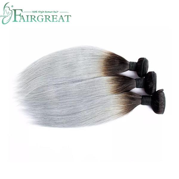 Fairgreat New Arrival #1B/Gray 100% Virgin Hair Weave Brazilian Human Hair Silver Grey Straight Bundles 3 Pcs/Lot Ombre Hair Extensions