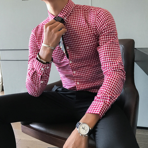 Checkered Shirts Mens Plaid Shirts Mens Camisa Social Masculina Slim Fit Office Business Chemise Homme Vintage Dress