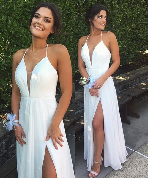 Vestido de formatura de fenda sexy Vestido de formatura de decote branco Halter Decote V profundo Vestidos formais de noite elegantes e elegantes 2019