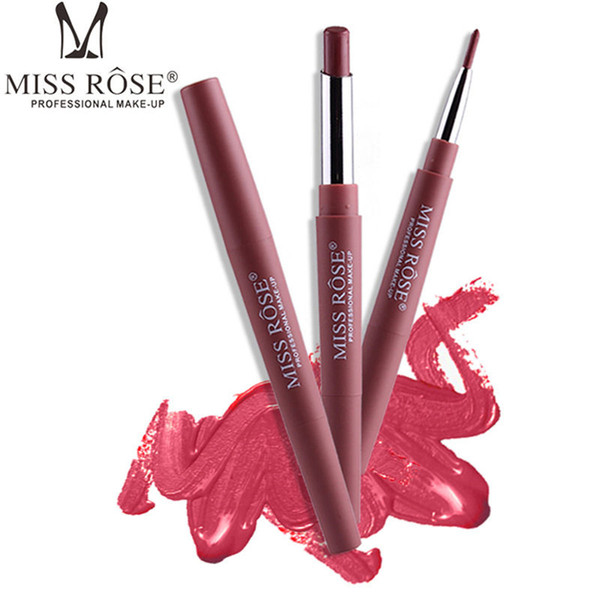 MISS ROSE Lipstick 2 in 1 Sexy Beauty Long Lasting Waterproof Pigment Matte Lipstick Pencils Moisturizer Lips Makeup Kit 1229001