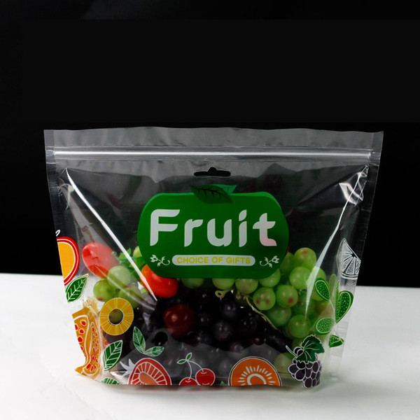 الفاكهة الشفاف حفظ حفظ أكياس التعبئة والتغليف سستة زيبلوك الوقوف حقيبة كبيرة حزمة الحقيبة البلاستيكية QW8788