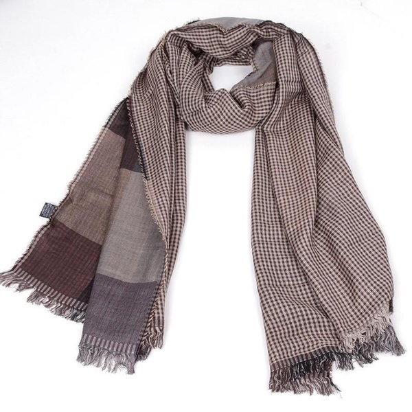 Male winter scarf wool plaid bandana cashmere muffler lovers thick thermal double faced