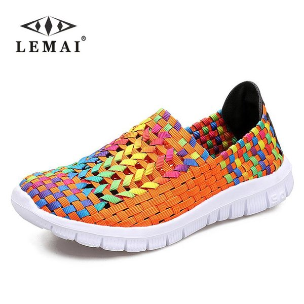 LEMAI Ladies Candy Corlors Woven shoes spring women flats , loafers shoes, female Flat For Women Size 35-40