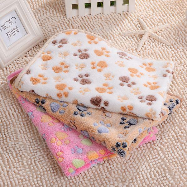 Paw print pet blanket puppy blanket pet leep pad mat oft and warm fleece dog cat leep throw blanket