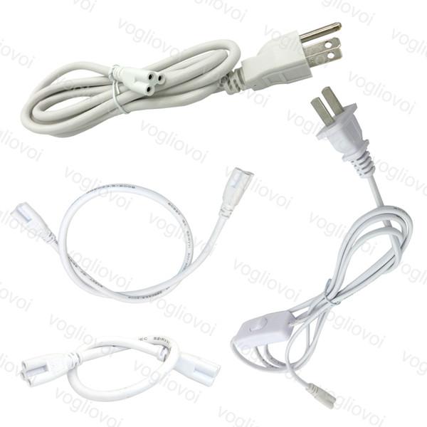 T5 T8 Verbindungskabel für integrierte LED-Leuchtröhren Verlängerungskabel Schalter Stromkabel mit US-Stecker PVC-Draht DHL