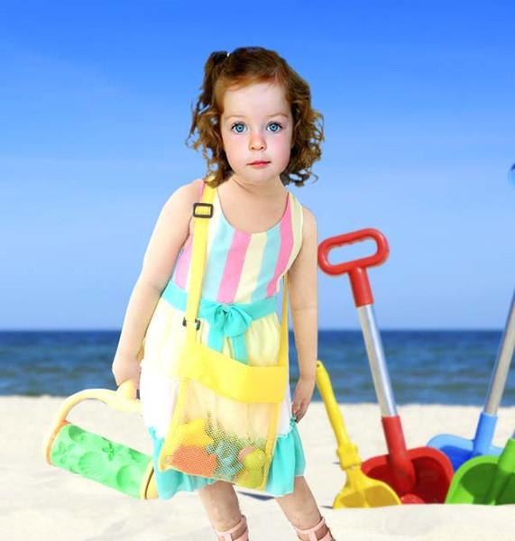 5 colori all'ingrosso Blanks Bambini Mesh Shell Beach borsa a forma di conchiglia per bambini Spiaggia Giocattoli Ricevi sacchetti di sabbia di rete