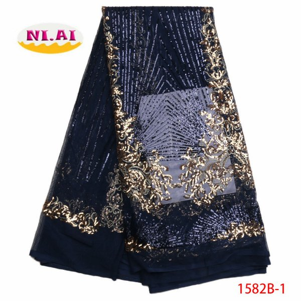 2018 Black French Lace Fabric High Quality African Laces Fabric With Sequins Embroidery For Sewing Beauty Women Dress XY1582B-1