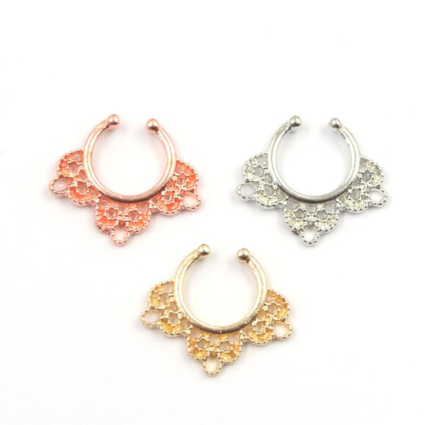30pcs Variety Fake Septum Nose Rings Crystal Faux Piercing Nose Studs Body Hoop Nose Ring For Septum Clip Jewelry