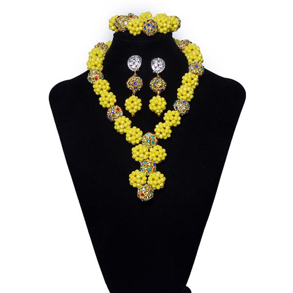 2018 Cristal Amarelo Big Ball Frisado Nigeriano Conjunto Colar para As Mulheres de Noiva Casamento Africano Beads Costume Jewelry Set Frete grátis