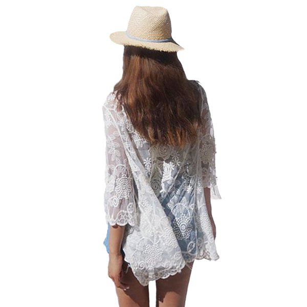 Women Summer Vintage Cardigan Crochet Lace Kimono Beach Wear Sheer Bikini Cover Up White Ladies Saida De Praia 2017