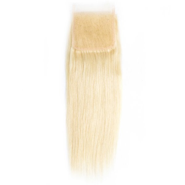 U CAN HAIR Soft Silky Straight 4x4 Swiss Lace Closure 613 Color Brazilian 100% Human Hair Blonde