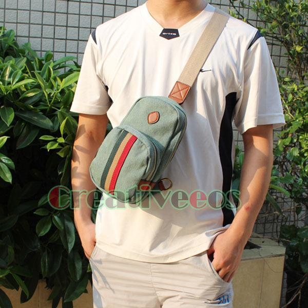 Unisex Canvas Fashion Travel Cell Phone Shoulder Messenger Cross Body Sling Chest Bag Pouch