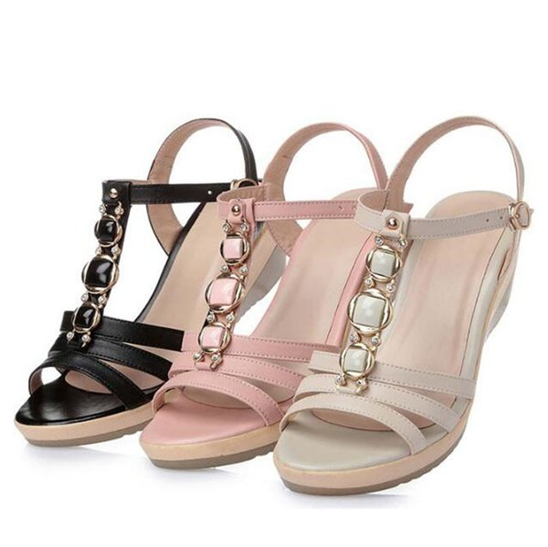 Wholesale and retail woman shoes 2018 New Summer Women Sandals Metal Rhinestone Fashion Sandals Genuine Leather Shoes Woman Wedges Sandals