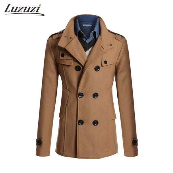 Winter Jacket Men Wool Coat Fashion Double Breasted Mens Overcoat Short Outwear Male Cashmere Trench Coat Plus Size 3XL WS2119