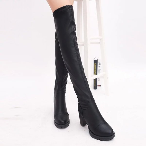 2017 New Women Boots PU Sexy Fashion Over The Knee Long Boots Sexy Thin High Heel Platform Women Shoes High Quality Winter